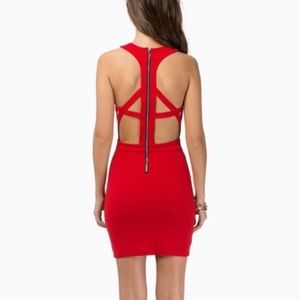Tobi cutout red dress